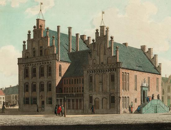 Raad- en wijnhuis west- en noordzijde in 1443-1774. Numan, Groninger Archieven