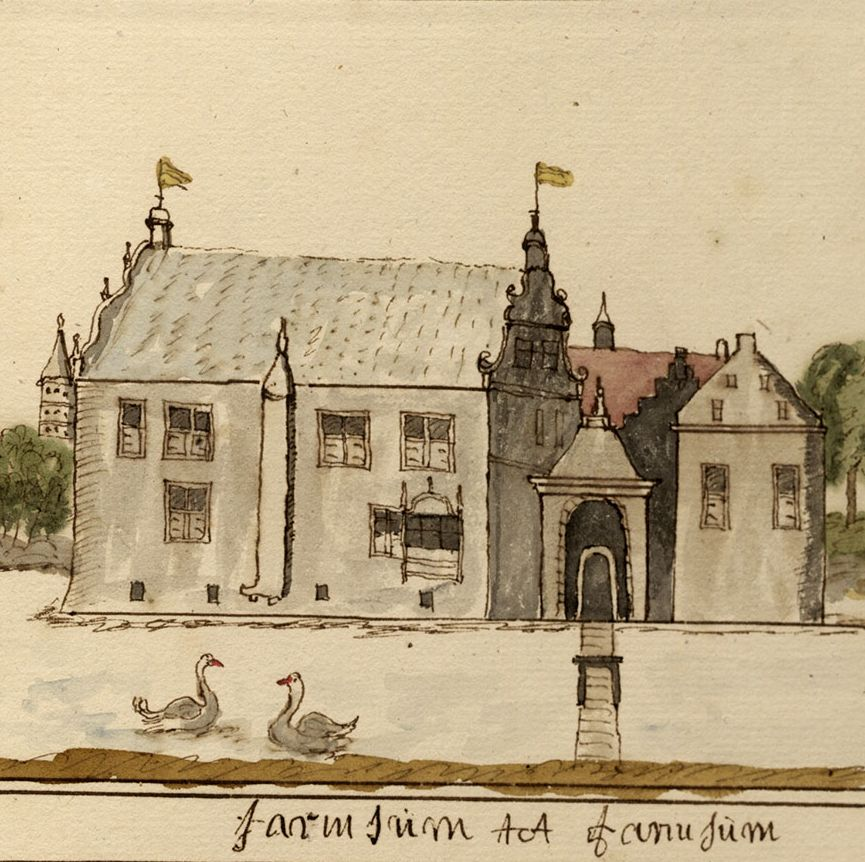 Borg Farmsum, ca. 1731. Tekening Andries Schoemaker, Groninger Archieven