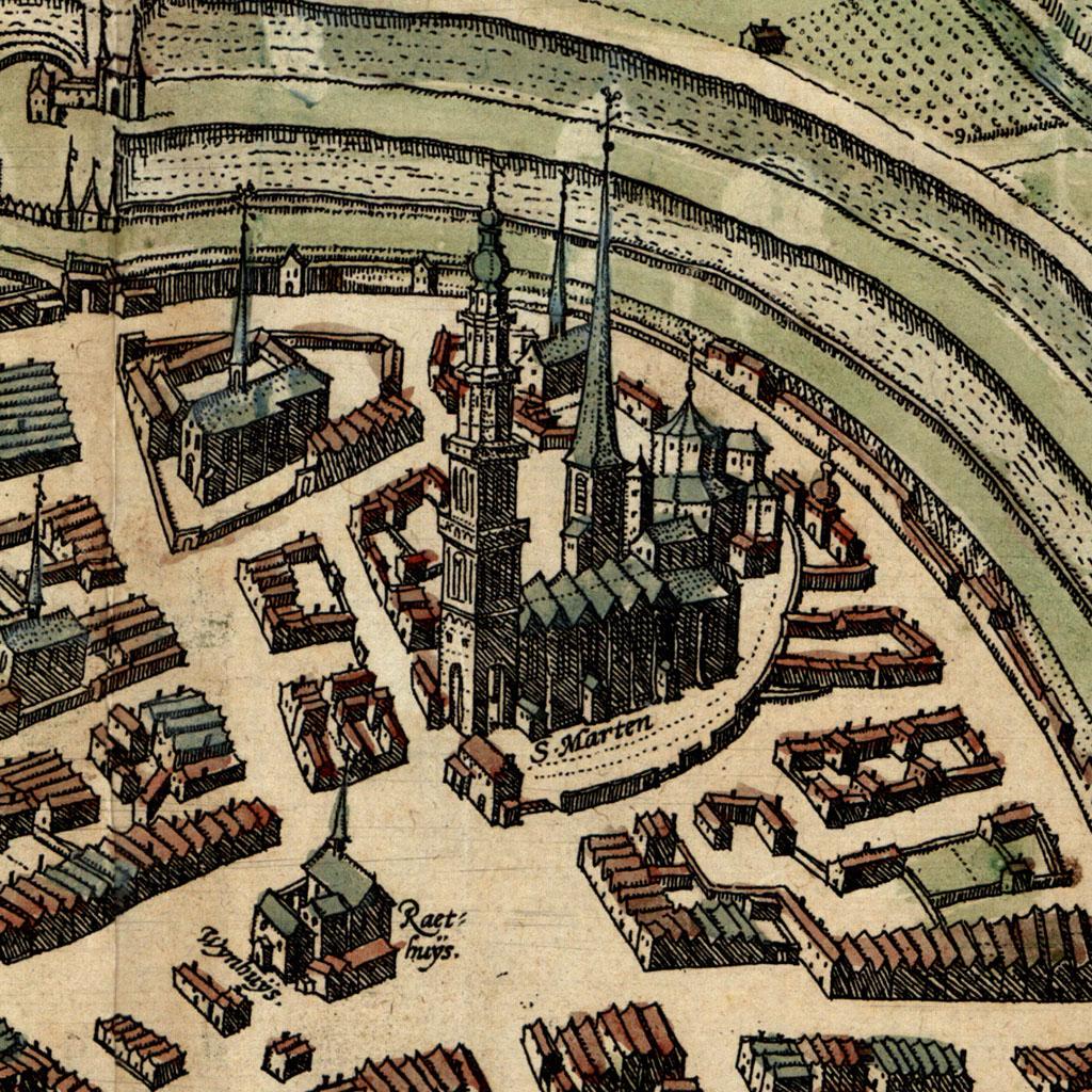 Uitsnede Plattegrond stad Groningen, Martinikerk, 1575. Vervaardiger Braun en Hogenberg, Groninger Archieven