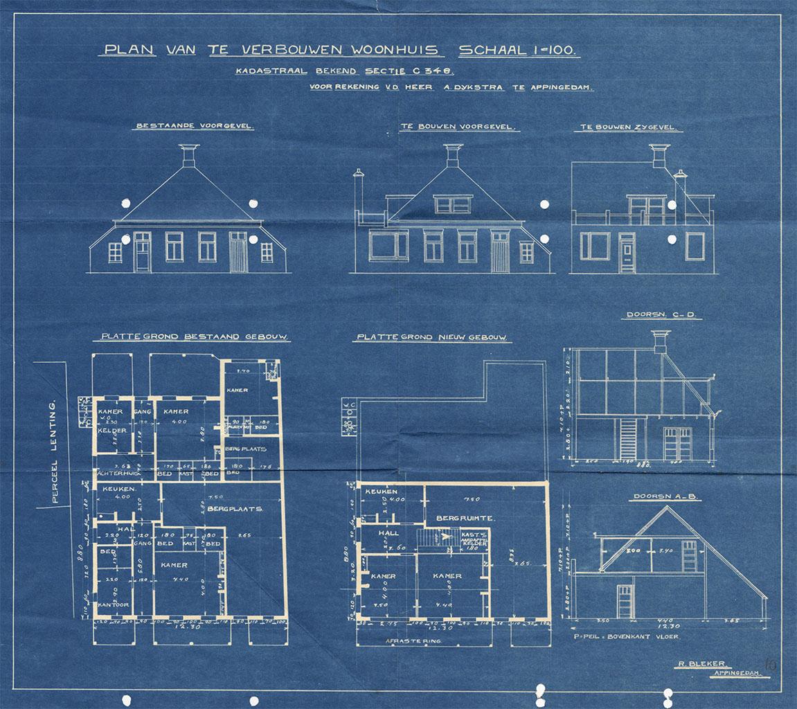 Bouwtekening Solwerderstraat 93, Appingedam, 1934. Streekarchivariaat Noordoost Groningen, Gemeentearchief Appingedam