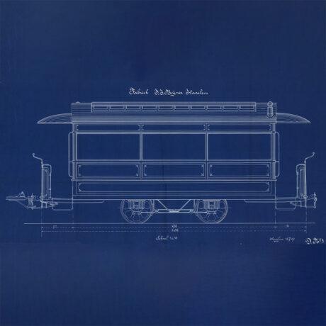 Blauwdruk van een zijaanzicht van een wagon van de paardentram. Gemaakt in 1890.
