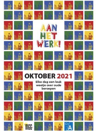 Voorkant kinderscheurkalender Aan het werk! oktober 2021